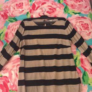 J-crew tan and navy striped blouse